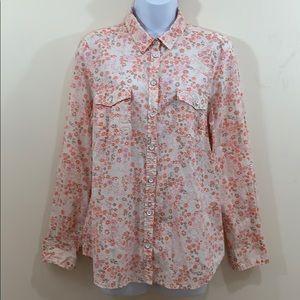 Sonoma Floral Button Up Shirt  Size L